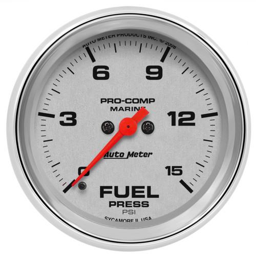 "AutoMeter Gauge Fuel Pressure 2 5/8"" 15Psi Digital Stepper Motor Marine Chrome"