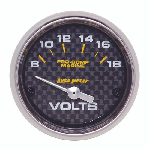 """AutoMeter Gauge Voltmeter 2 1/16"""" 18V Electric Marine Carbon Fiber"""