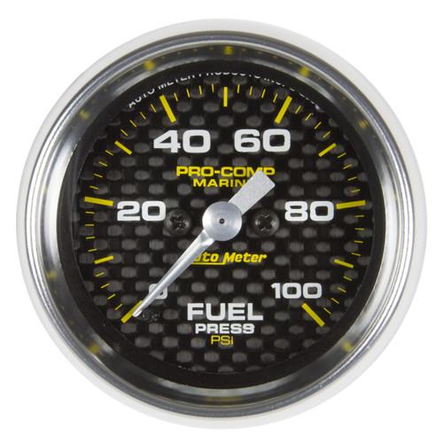 """AutoMeter Gauge Fuel Pressure 2 1/16"""" 100Psi Digital Stepper Motor Marine Carbon"""