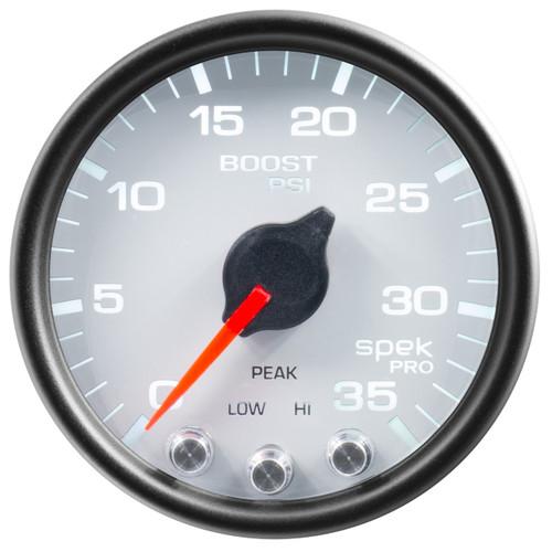 "AutoMeter Gauge Boost 2 1/16"" 35Psi Stepper Motor W/Peak & Warn White/Black Spek-Pro"