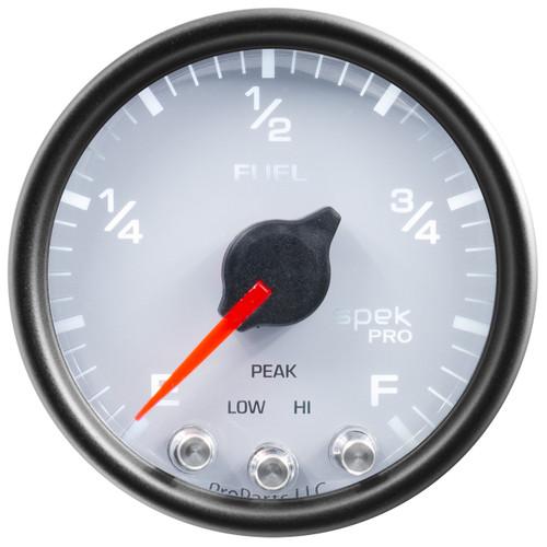 """AutoMeter Gauge Fuel Level 2 1/16"""" 0-270Ω Programmable Wht/Blk Spek-Pro"""