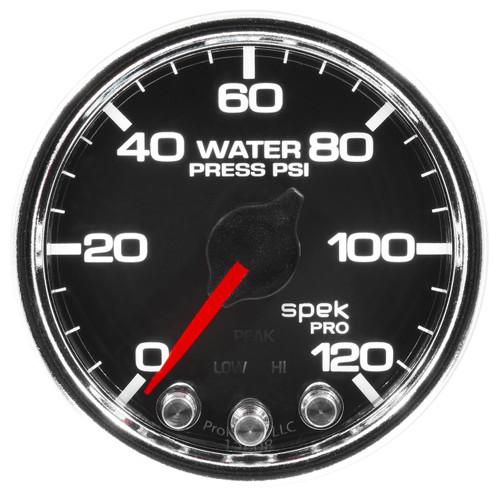 "AutoMeter Gauge Water Press 2 1/16"" 120Psi Stepper Motor W/Peak & Warn Blk/Chrm Spek"