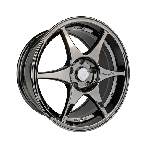 Stage Wheels Knight 17x8 +10mm 5x120 CB: 74.1 Color: Black Chrome