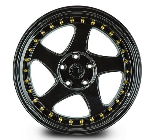 Aodhan Wheels AH01 18x9.5 5x100 +30 Full Gloss Black ( Gold Rivet)