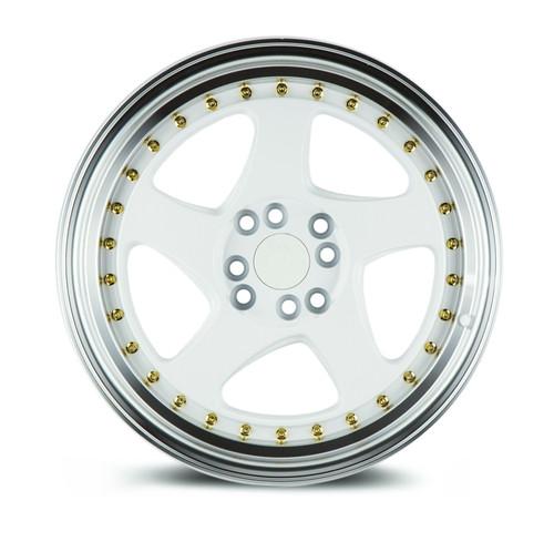 Aodhan Wheels AH01 15x8 4x100/114.3 +20 White w/Machined Lip (Gold Rivets)