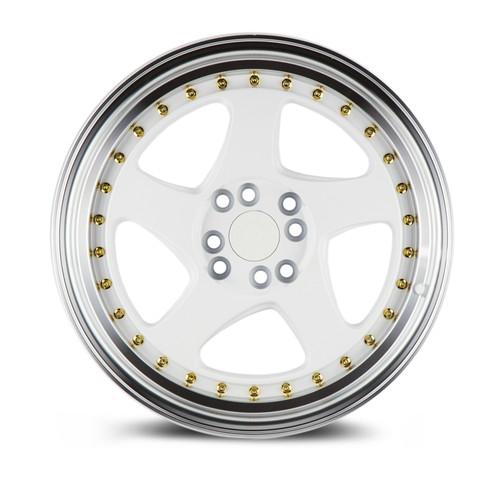 Aodhan Wheels AH01 16x8 4x100/114.3 +15 White w/Machined Lip (Gold Rivets)
