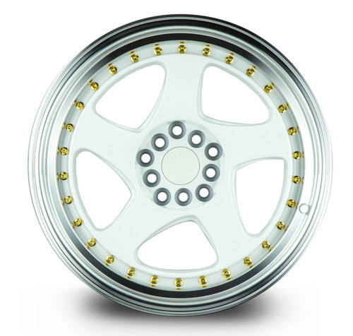 Aodhan Wheels AH01 17x9 5x100/114.3 +25 White w/Machined Lip (Gold Rivets)