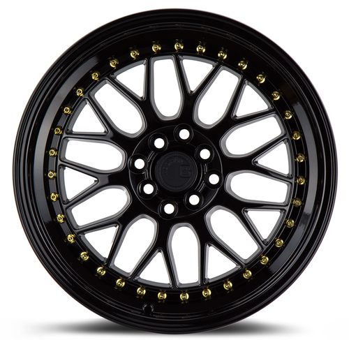 Aodhan Wheels AH02 17x8 4x100/114.3 +35 Full Gloss Black ( Gold Rivet)