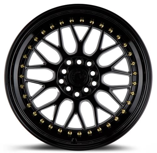 Aodhan Wheels AH02 17x8 5x100/114.3 +35 Full Gloss Black ( Gold Rivet)