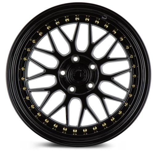 Aodhan Wheels AH02 18x8.5 5x100 +35 Full Gloss Black ( Gold Rivet)