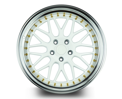 Aodhan Wheels AH02 19x9.5 5x114.3 +22 White w/Machined Lip (Gold Rivets)