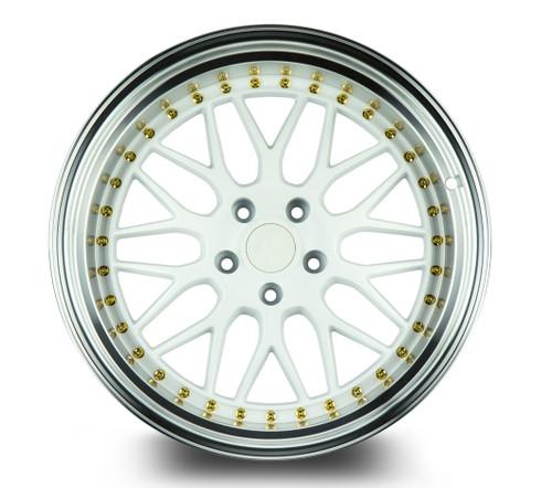 Aodhan Wheels AH02 19x11 5x114.3 +22 White w/Machined Lip (Gold Rivets)