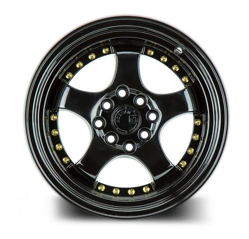 Aodhan Wheels AH03 15x8 4x100/114.3 +20 Full Golss Black ( Gold Rivet)
