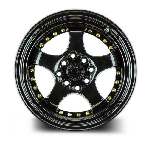 Aodhan Wheels AH03 17x9 4x100/114.3 +25 Full Golss Black ( Gold Rivet)