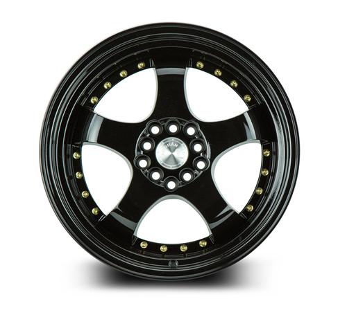 Aodhan Wheels AH03 17x9 5x100/114.3 +25 Full Golss Black ( Gold Rivet)