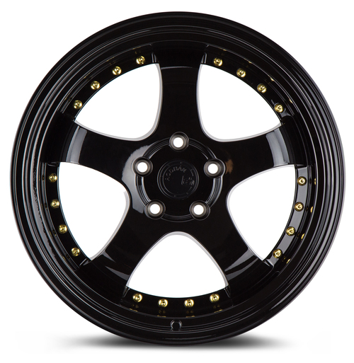 Aodhan Wheels AH03 18x9.5 5x100 +30 Full Golss Black ( Gold Rivet)