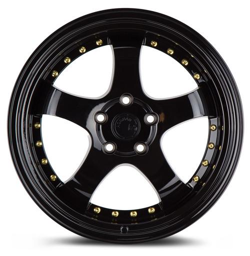 Aodhan Wheels AH03 18x9.5 5x114.3 +12 Full Golss Black ( Gold Rivet)
