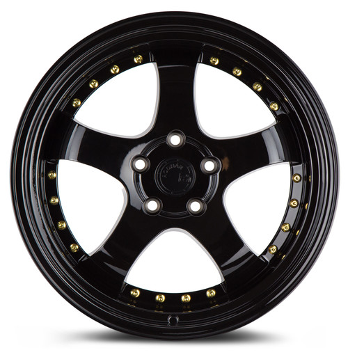Aodhan Wheels AH03 18x9.5 5x114.3 +30 Full Golss Black ( Gold Rivet)