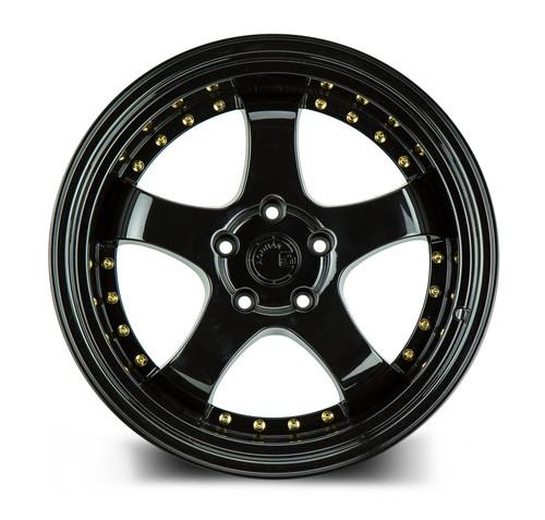 Aodhan Wheels AH03 18x10.5 5x114.3 +25 Full Golss Black ( Gold Rivet)