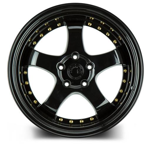 Aodhan Wheels AH03 19x11 5x114.3 +22 Full Golss Black ( Gold Rivet)