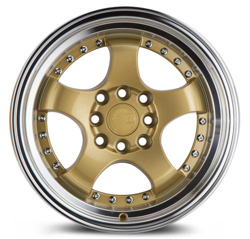 Aodhan Wheels AH03 15x8 4x100/114.3 +20 Gold w/Machined Lip