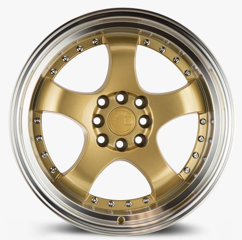 Aodhan Wheels AH03 17x9 4x100/114.3 +25 Gold w/Machined Lip