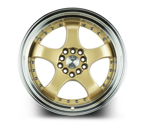 Aodhan Wheels AH03 17x9 5x100/114.3 +25 Gold w/Machined Lip