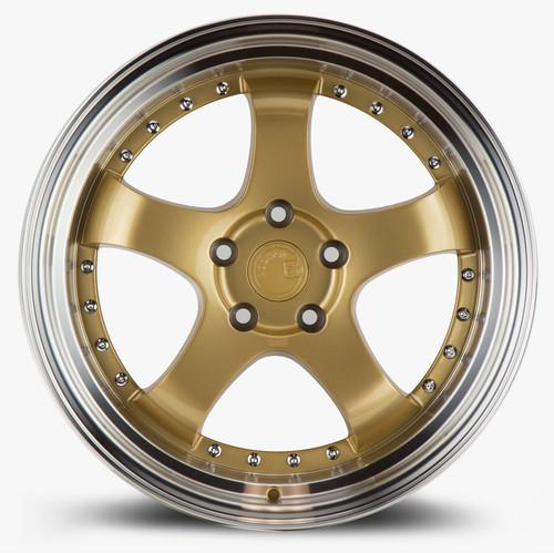 Aodhan Wheels AH03 18x9.5 5x114.3 +30 Gold w/Machined Lip
