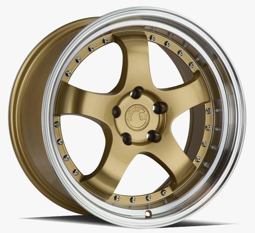 Aodhan Wheels AH03 18x10.5 5x114.3 +25 Gold w/Machined Lip