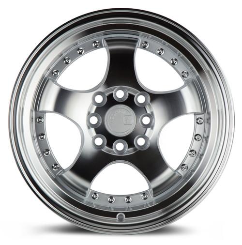 Aodhan Wheels AH03 15x8 4x100/114.3 +20 Silver Machined Face And Lip
