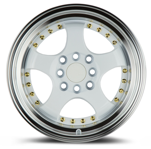 Aodhan Wheels AH03 15x8 4x100/114.3 +20 White w/Machined Lip (Gold Rivets)