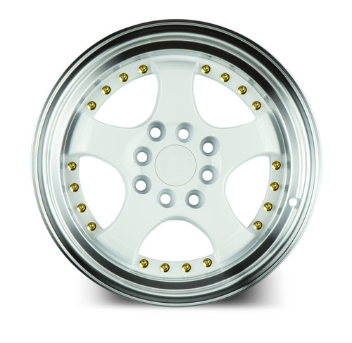 Aodhan Wheels AH03 17x9 4x100/114.3 +25 White w/Machined Lip (Gold Rivets)