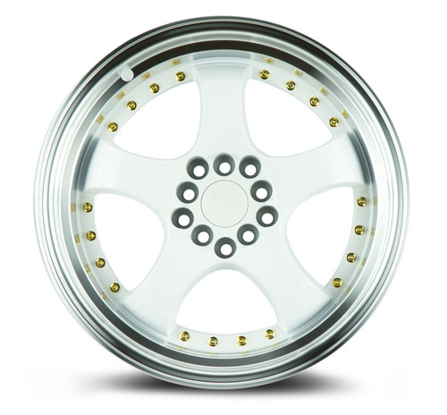 Aodhan Wheels AH03 17x9 5x100/114.3 +25 White w/Machined Lip (Gold Rivets)