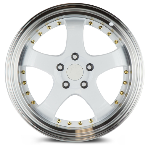 Aodhan Wheels AH03 18x9.5 5x100 +35 White w/Machined Lip (Gold Rivets)