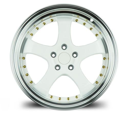 Aodhan Wheels AH03 19x9.5 5x114.3 +22 White w/Machined Lip (Gold Rivets)