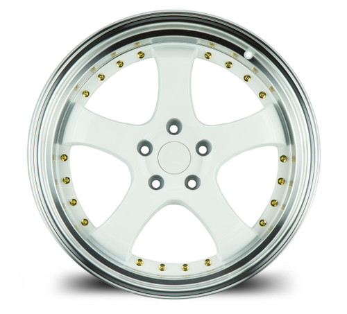 Aodhan Wheels AH03 19x11 5x114.3 +22 White w/Machined Lip (Gold Rivets)