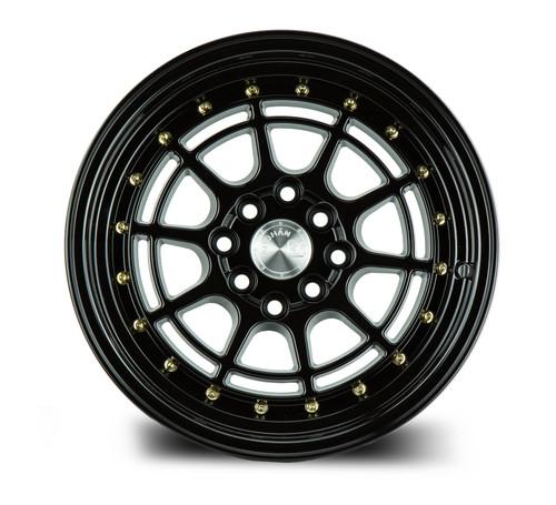 Aodhan Wheels AH04 15x8 4x100/114.3 +20 Full Gloss Black ( Gold Rivet)