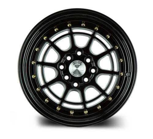 Aodhan Wheels AH04 16x8 4x100/114.3 +15 Full Gloss Black ( Gold Rivet)