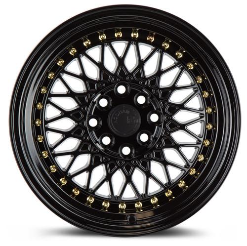 Aodhan Wheels AH05 16x8 4x100/114.3 +15 Full Gloss Black ( Gold Rivet)