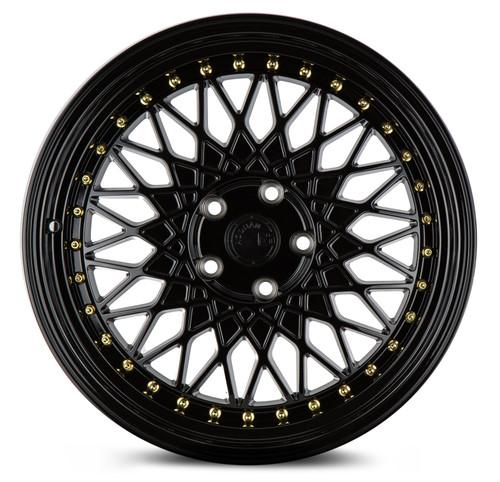 Aodhan Wheels AH05 18x9.5 5x114.3 +30 Full Gloss Black ( Gold Rivet)