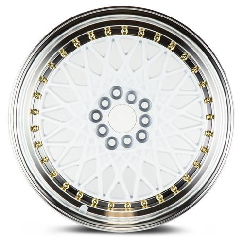 Aodhan Wheels AH05 17x9 5x100/114.3 +25 White w/Machined Lip (Gold Rivets)