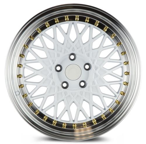 Aodhan Wheels AH05 18x8.5 5x114.3 +35 White w/Machined Lip (Gold Rivets)