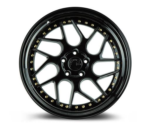Aodhan Wheels Ds01 18x9.5 5x114.3 +15 Gloss Black W /Gold Rivets