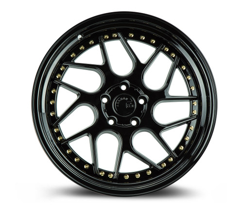Aodhan Wheels Ds01 18x10.5 5x120 +25 Gloss Black W /Gold Rivets