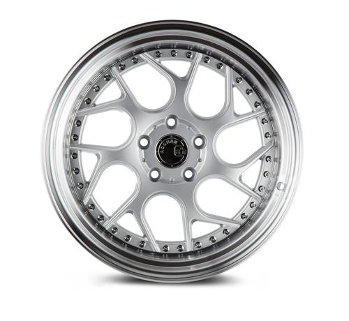 Aodhan Wheels Ds01 18x8.5 5x100 +35 Silver Machined Lip w/Chrome Rivets