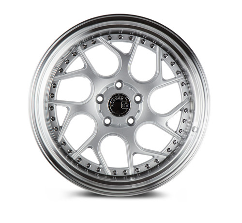 Aodhan Wheels Ds01 18x10.5 5x114.3 +22 Silver Machined Lip w/Chrome Rivets
