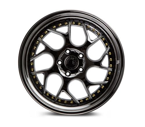 Aodhan Wheels Ds01 18x8.5 5x100 +35 Black Vacuum W/ Gold Rivets