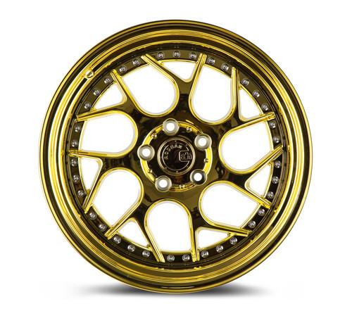 Aodhan Wheels Ds01 18x10.5 5x114.3 +15 Gold Vaccum W/ Chrome Rivets