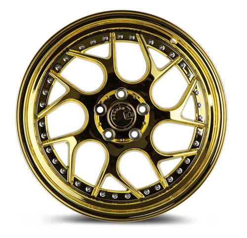 Aodhan Wheels Ds01 18x9.5 5x114.3 +15 Gold Vaccum W/ Chrome Rivets