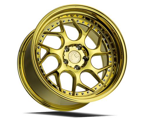 Aodhan Wheels Ds01 19x10.5 5x114.3 +15 Gold Vaccum W/ Chrome Rivets